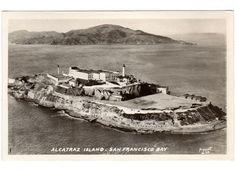 Vintage 1930s Alcatraz Island Prison Postcard 13 by Piggott San Francisco Bay California Unused Real Photo