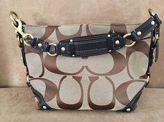 Coach Dark Brown Leather Signature Carly Shoulder Bag 10619 canvas jacquard #Coach #ShoulderBag