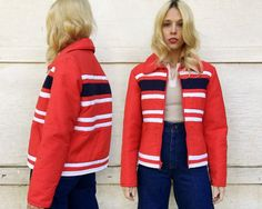 f30fa4aa98 Vintage 70s Jean Claude Killy Red White Navy Striped Puffy Vintage Coat