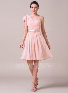 A-Line/Princess Sweetheart Knee-Length Ruffle Bow(s) Zipper Up Regular Straps Sleeveless No Pearl Pink Spring Summer Fall General Plus Chiffon Bridesmaid Dress