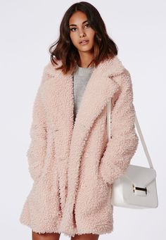 Celine Teddy Faux Fur Pink - Coats & Jackets - Missguided