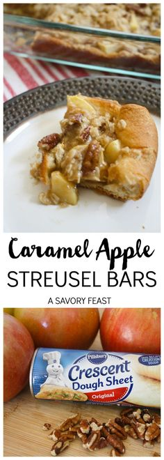 Caramel Apple Bars // The best of Fall flavors in one easy dessert!