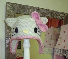 Hello Kitty, pink, crochet hat, kids crochet