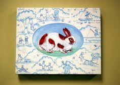 Kelly's signature toile for kids surrounds a classic bunny on this 14''W x 11''H unframed canvas. A classic painting that can be passed down to the next generation.