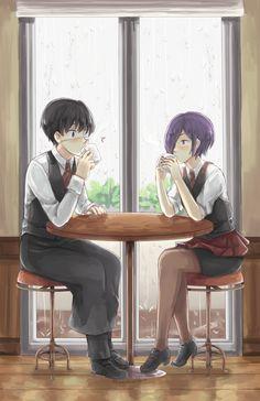 """Kaneki and Touka // TG  K: """"Necesito ser fuerte, para protejer a los que amo"""" Yo: """"Uno se hace fuerte mediante el amor de nuestros seres queridos, no mediante armas y sangre""""  -Lo sé, me dejó traumada.-"""