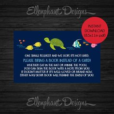 Bring a book instead of a card insert, Baby Shower, under the sea, ocean, turtle, fish, book request, instant download, pdf,  DIY printable by ellenphant on Etsy https://www.etsy.com/listing/247104598/bring-a-book-instead-of-a-card-insert