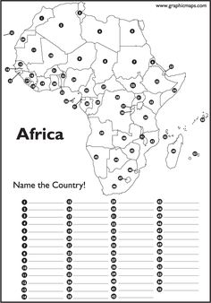 Numbered Map Of Africa.Africa Coloring Map Printable Continent Box Africa Pinterest