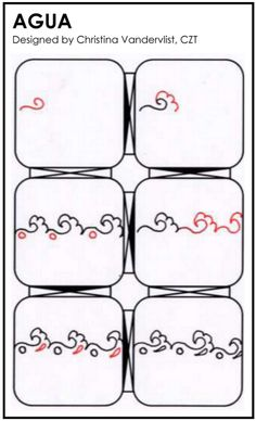 AGUA zentangle - designed by Christina Vandervlist, CZT Tangle Doodle, Tangle Art, Zen Doodle, Doodle Art, Zentangle Drawings, Doodles Zentangles, Doodle Drawings, Doodle Patterns, Zentangle Patterns