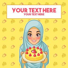 Young muslim woman wearing hijab veil holding a plate of dessert, cartoon character design, against yellow background, vector illustration. Youtube Logo, Family Images, Yellow Background, Muslim Women, Presentation Design, New Job, People Around The World, Cartoon Characters, Hold On