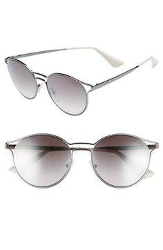 a4c3e6e9304 Main Image - Prada 53mm Round Mirrored Sunglasses Round Mirrors