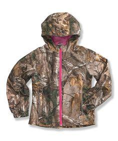 Dark Brown & Pink Woodland Camo Jacket - Girls