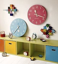 Children's Giant Wall Clock and Puzzle Wall Clock from ASPACE - find out more here:  http://www.ukhomeideas.co.uk/ideas/interior-design/clocks/just-in-time-new-childrens-clocks-from-aspace/