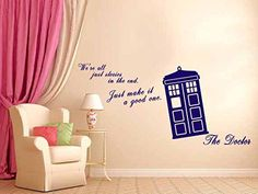 We Are All Stories - Doctor Who Tardis - Wall Decal Vinyl Sticker (Navy Blue) Just Good Deals Wall Stickers Murals, Wall Decal Sticker, Home Quotes And Sayings, Wall Quotes, Doctor Who Bathroom, Doctor Who Decor, Geek Decor, Doctor Who Tardis, European Home Decor