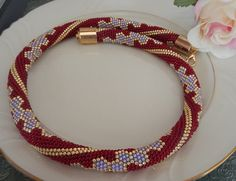 Salsa Beaded crochet Necklace Halskette von Inspirationzweig