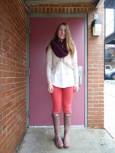 works cited: UO jeans; cowl from etsy (seams to be); target tunic; j. crew sweater; hunter boots