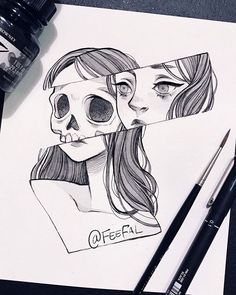 Trendy Ideas For Doodle Art Design Black Easy Pencil Drawings, Dark Art Drawings, Pencil Drawing Images, Random Drawings, Drawings Of Love, Drawings Of Girls, Skeleton Drawings, Random Tattoos, Hipster Drawings