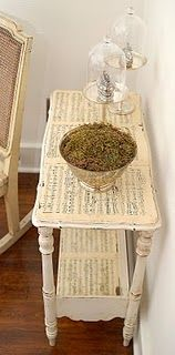 music sheets table or using sheet music for fronts of dresser drawers or small end table to be placed near piano