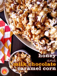 Honey + Milk Chocolate Caramel Corn: Crunchy sweet and mellow and drizzled with milk chocolate, this popcorn will be a big hit at your #SuperBowl parties!