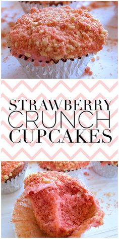 Delicious and easy recipe for Strawberry Crunch Cupcakes. If you've ever had Strawberry Shortcake Ice Cream Bars, then you know exactly how the cookie crumb coating on top of these cupcakes tastes Just Desserts, Delicious Desserts, Dessert Recipes, Yummy Food, Tasty, Dessert Ideas, Deep Fried Desserts, Healthy Cupcake Recipes, Cupcake Recipes From Scratch