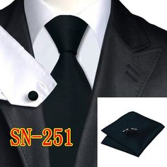 Men's 100% Silk Solid Neckties Tie handkerchief Cufflinks Sets for men Formal Wedding Party Groom Free Shipping