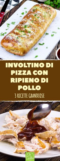 Con queste 3 ricette grandiose per involtini alla sfoglia croccante di pizza con ripieno di pollo farete senz'altro un figurone a tavola!  #pollo  #pizza  #barbecue  #prosciutto  #stromboli  #cipolle  #timo