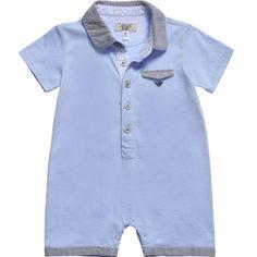 Armani Baby Boys Pale Blue Cotton Shortie at Childrensalon.com
