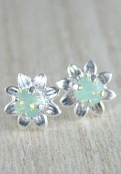 Mint green earrings opal