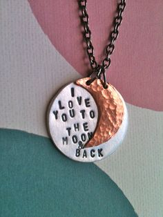 I  Love You To The Moon & BackHandstamped by DarkChocolateNTulips, $38.00