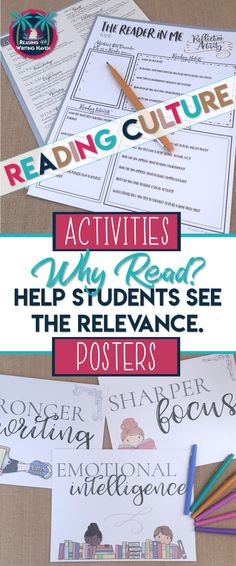 Use these posters and activities to help create a reading culture in your classroom. Reading matters, and research has proven it! Show students why they should care. #highschoolela #readingculture