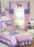 Bedding ensemble will help your little girl saddle up for sweet dreams! This soft pastel horse and pony bedding set uses a collection of coordinating 100% cotton fabrics in a beautiful color palette of light pink, purple, sage green, and butter yellow. It is detailed with cotton and microsuede appliques and embroidery of ponies, flowers and horseshoes.