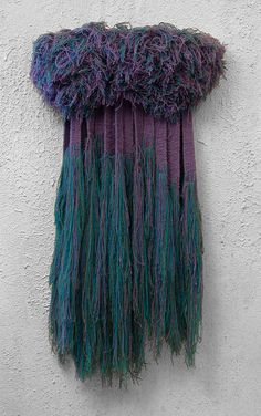 Entitled Bayou this soft fiber wall sculpture hangs rich with the mossy blues of a deep purple cypress twilight.. via Etsy.