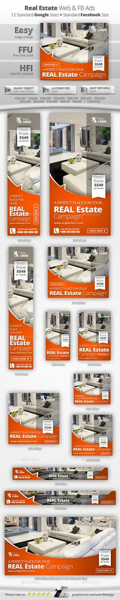 Real Estate Web & Facebook Banners Template #design Download…