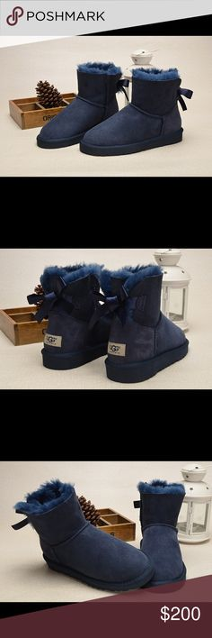 Ugg mini Bailey bow navy booties New! Comes with box and tags attached to sole! Booties UGG Shoes Ankle Boots & Booties