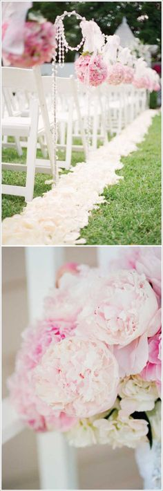love the idea of lining the inside aisle with pedals for an outdoor wedding