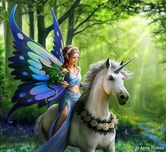 Step into a world of wonder with our Realm of Enchantment Art Print. Riding on the back of a unicorn with a small dragon perched on her arm, a blue fairy is depicted in this beautiful illustration by fantasy artist Anne Stokes. Anne Stokes, Unicorn And Fairies, Unicorns And Mermaids, Unicorn Art, Unicorn Painting, White Unicorn, Magical Creatures, Fantasy Creatures, Fantasy Kunst