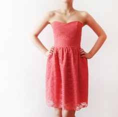 Coral Dream - Pink Coral Lace and Cotton - bridesmaid dress, Salmon lace dress, bridesmaids dress, party dress - boned dress. $110.00, via Etsy.