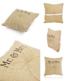 [Visit to Buy] Mr & Mrs Burlap Jute Bow Twine Wedding Ring Pillow Beach Themed Pillows Wedding Supplies Wedding Accessories Decoration #Advertisement