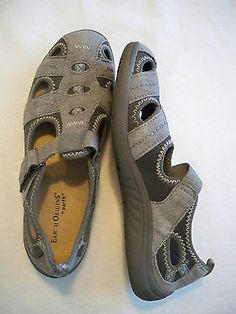 bb18b2860e10 EARTH ORIGINS CAMBY GRAY VELCRO STRAPPY SPORT SANDALS SLIP ONS LOAFERS  FLATS 7 W