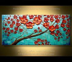 Floraison contemporain abstrait arbre peinture à par Artcoast, $350.00
