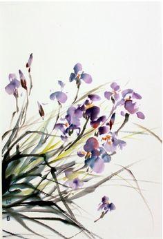 sumi-painting-blooming-irises.jpg (390×575)