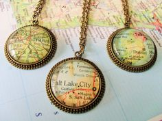 Custom MAP PENDANT Necklace / Unique Gift  / You Pick The Location / Vintage map / Antique Bronze / Map jewelry / Gift boxed / Personalized
