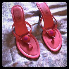 4f65e40d4aa Pink Coach mini heels Cute spring inspired Coach heeled sandals Coach Shoes  Sandals