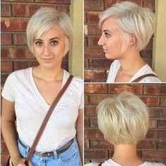 Easy, Light Blonde Pixie Haircut - Cute, Easy Short Hairstyles for Fine Hair #pixiebobhaircut