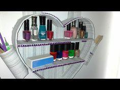 manualidad : organizador de pared en forma de corazón♥heart-shaped cardboard wall organizer - YouTube