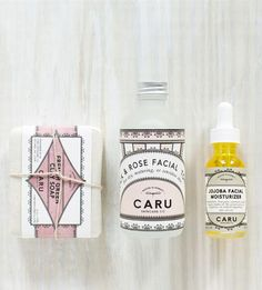 Caru Skincare Co. is a new skincare line focused on eco-friendly ingredients and materials. The entire packaging is biodegradable and recyclable, the soap papers are imbedded with non-invasive wildflowers making this all natural. Everything looks handmade and the packaging has a wonderful modern and delicate feel to it.