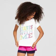 Girls' Graphic Tech T-Shirt - C9 Champion - White XS - It Starts With Me