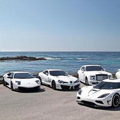 carlover3:  #lamborghini #mucielago #mercedesbenz #slr #rollsroyce #koenigsegg #white #supercars #stance #stanceworks #carlover3 #like #love