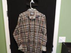 Thomas Dean Designer Multi Color Plaid Contrasting Cuffs Casual Shirt SZ L Mint  #ThomasDean #ButtonFront