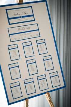 Lovely Royal Blue and Ivory Wedding Table Seating Plan from Newport Links Golf Club & Resort for Helen & Ben who got married in April 2014