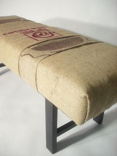 Repurposed MultiBag Coffee Sack Bench by bDagitzFurniture on Etsy, $225.00...like the coffee sack cover! Have an old ottoman could use this idea with!